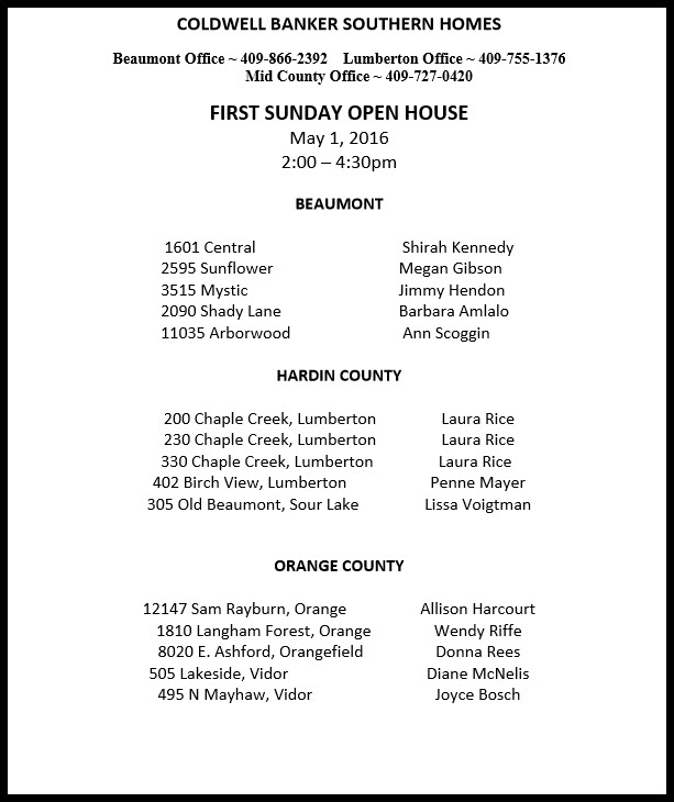 May Open Houses